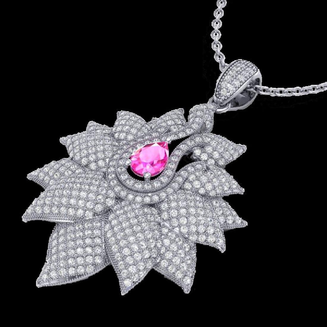 3 CTW Pink Sapphire & Micro Pave VS/SI Diamond Designer