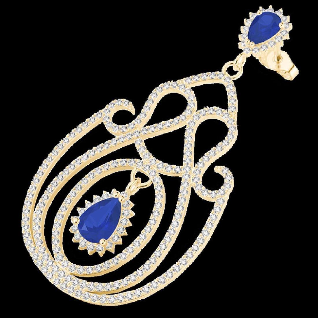 6.40 CTW Sapphire & Micro Pave VS/SI Diamond Earrings