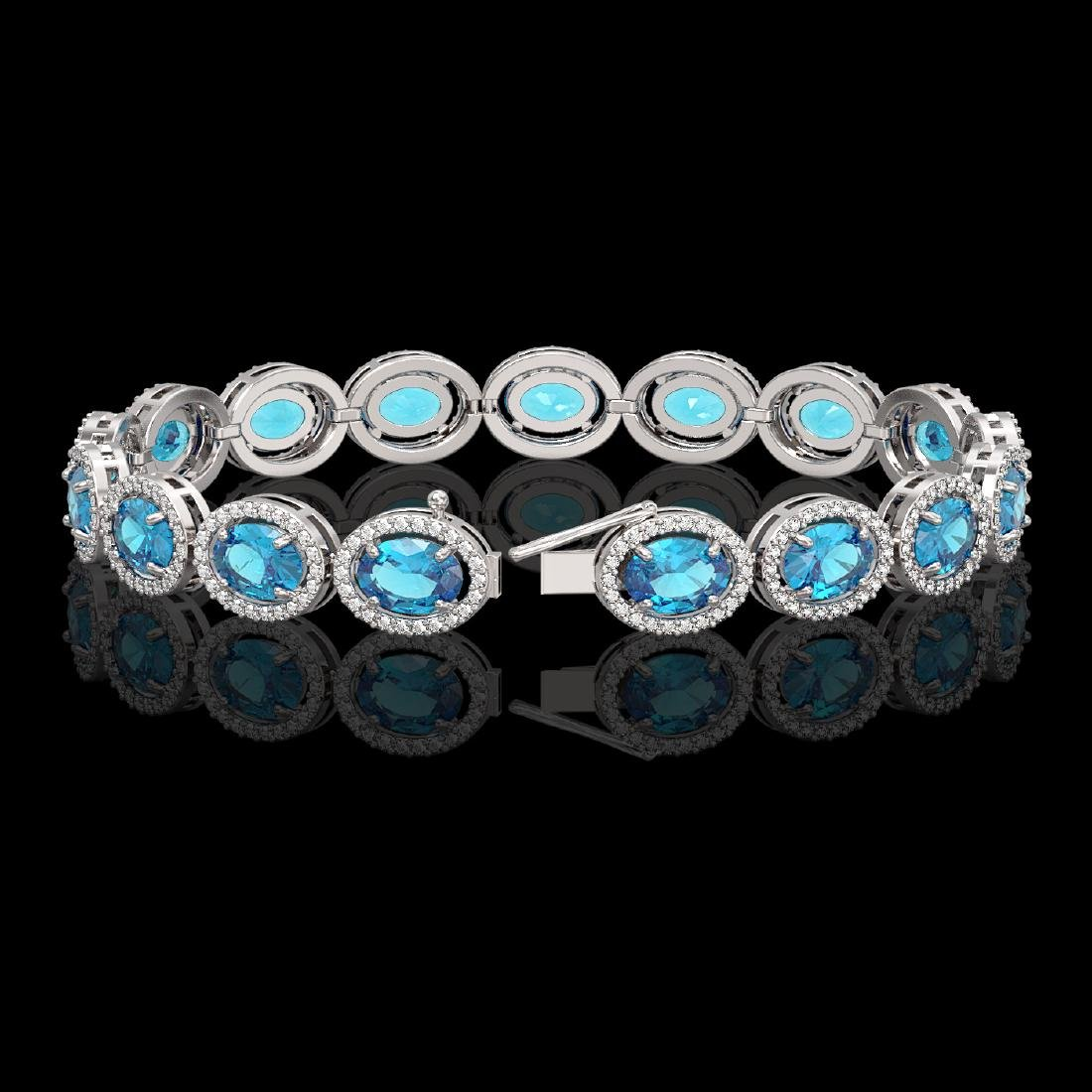 24.32 CTW Swiss Topaz & Diamond Halo Bracelet 10K White - 2