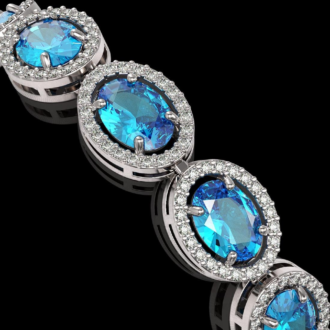 24.32 CTW Swiss Topaz & Diamond Halo Bracelet 10K White - 3