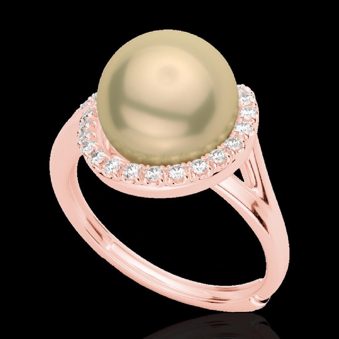 0.27 CTW VS/SI Diamond & Golden Pearl Designer Ring 14K - 2