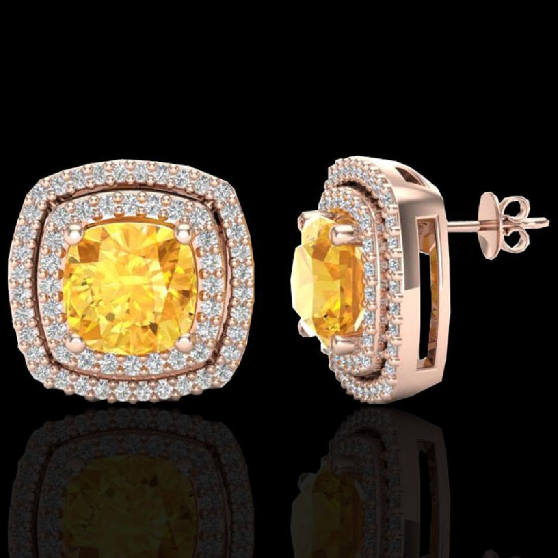 3.55 CTW Citrine And Micro Pave VS/SI Diamond Halo - 2