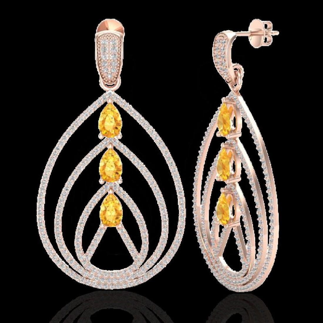 4 CTW Citrine & Micro Pave VS/SI Diamond Earrings 14K - 2