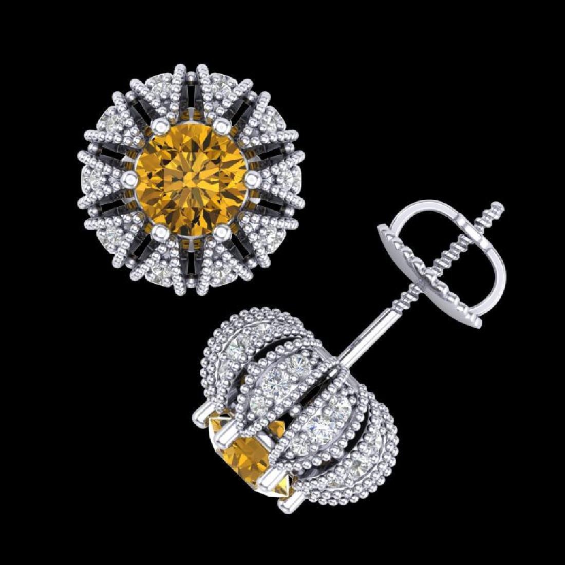 2.01 CTW Intense Fancy Yellow Diamond Art Deco Stud - 3