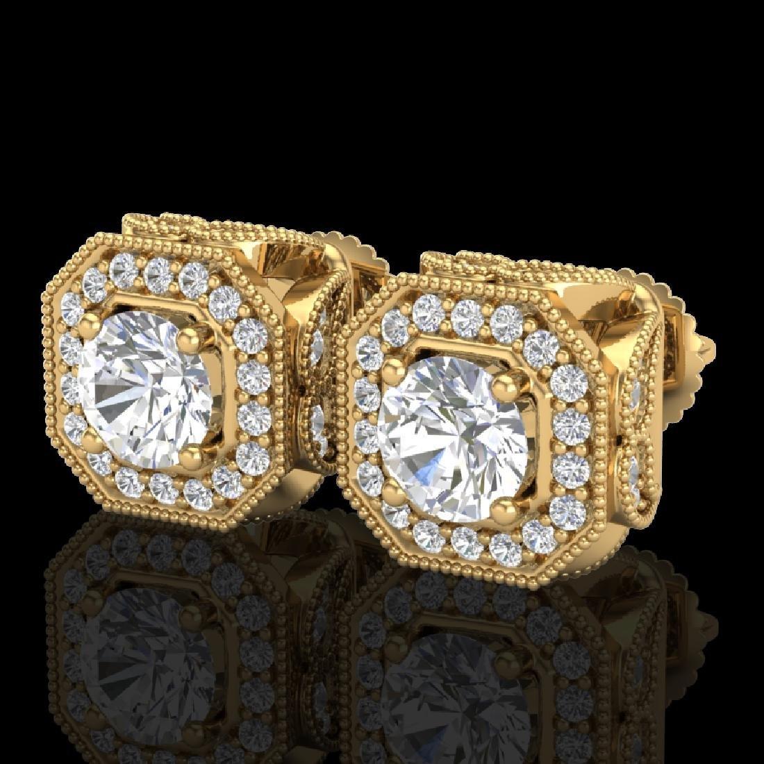 2.75 CTW VS/SI Diamond Solitaire Art Deco Stud Earrings