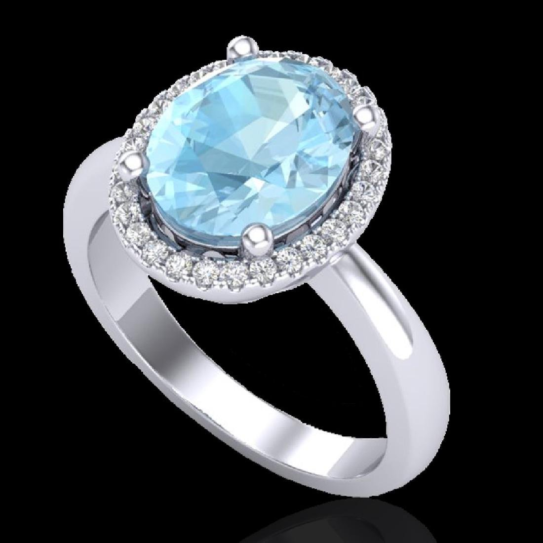 2.50 CTW Aquamarine & Micro Pave VS/SI Diamond Ring