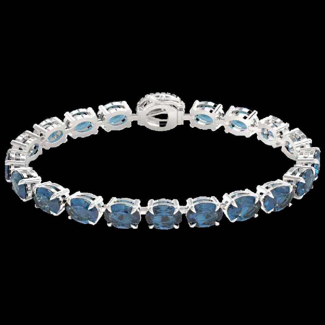 36 CTW London Blue Topaz & VS/SI Diamond Tennis Micro