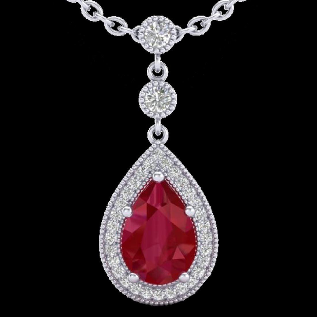 2.75 CTW Ruby & Micro Pave VS/SI Diamond Necklace - 2