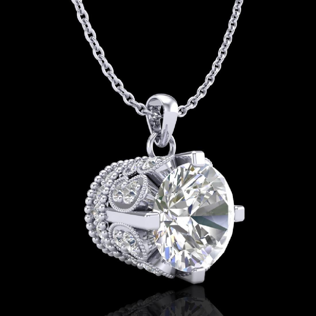 1.5 CTW VS/SI Diamond Solitaire Art Deco Stud Necklace - 3