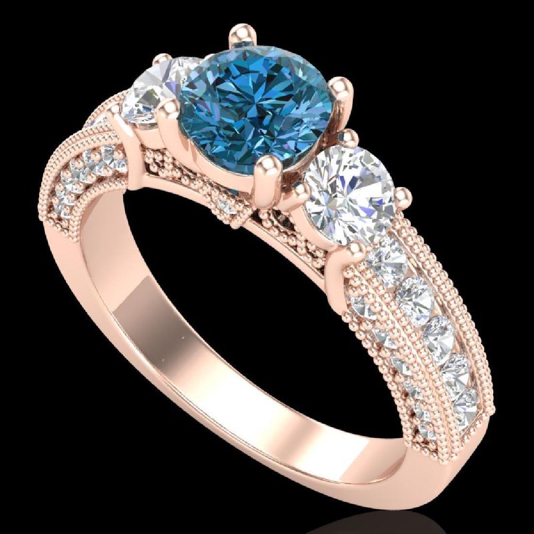 2.07 CTW Intense Blue Diamond Solitaire Art Deco 3