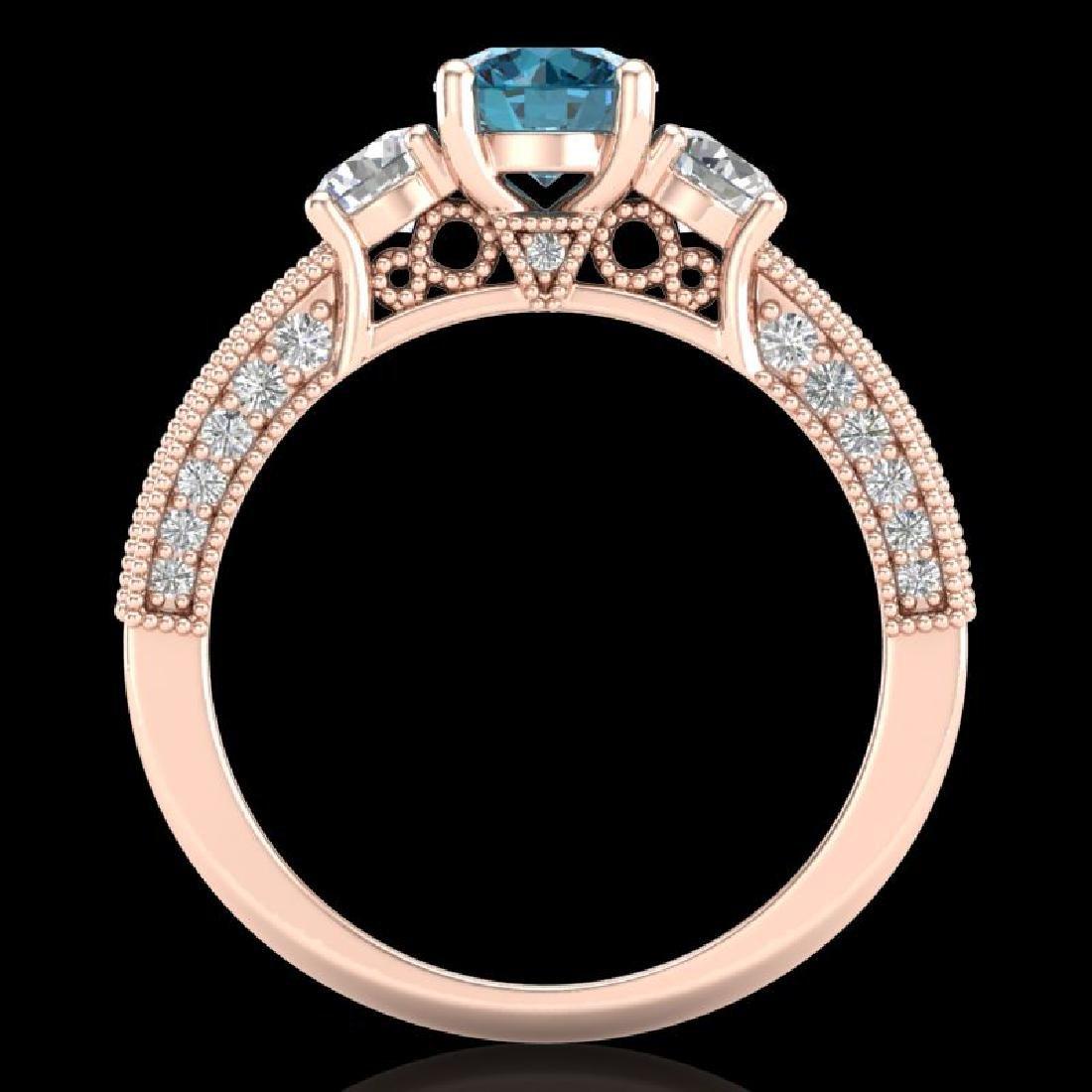 2.07 CTW Intense Blue Diamond Solitaire Art Deco 3 - 2