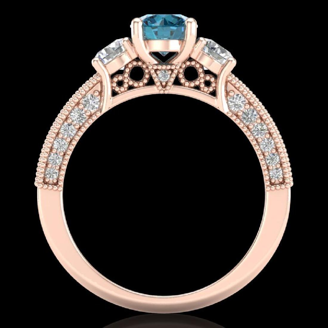 2.07 CTW Intense Blue Diamond Solitaire Art Deco 3 - 2