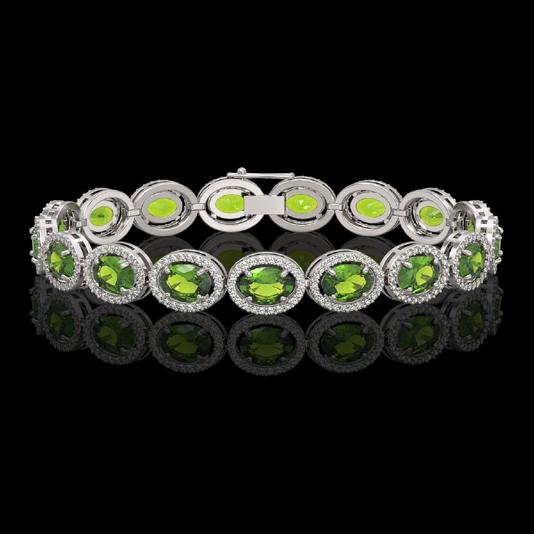 21.13 CTW Peridot & Diamond Halo Bracelet 10K White