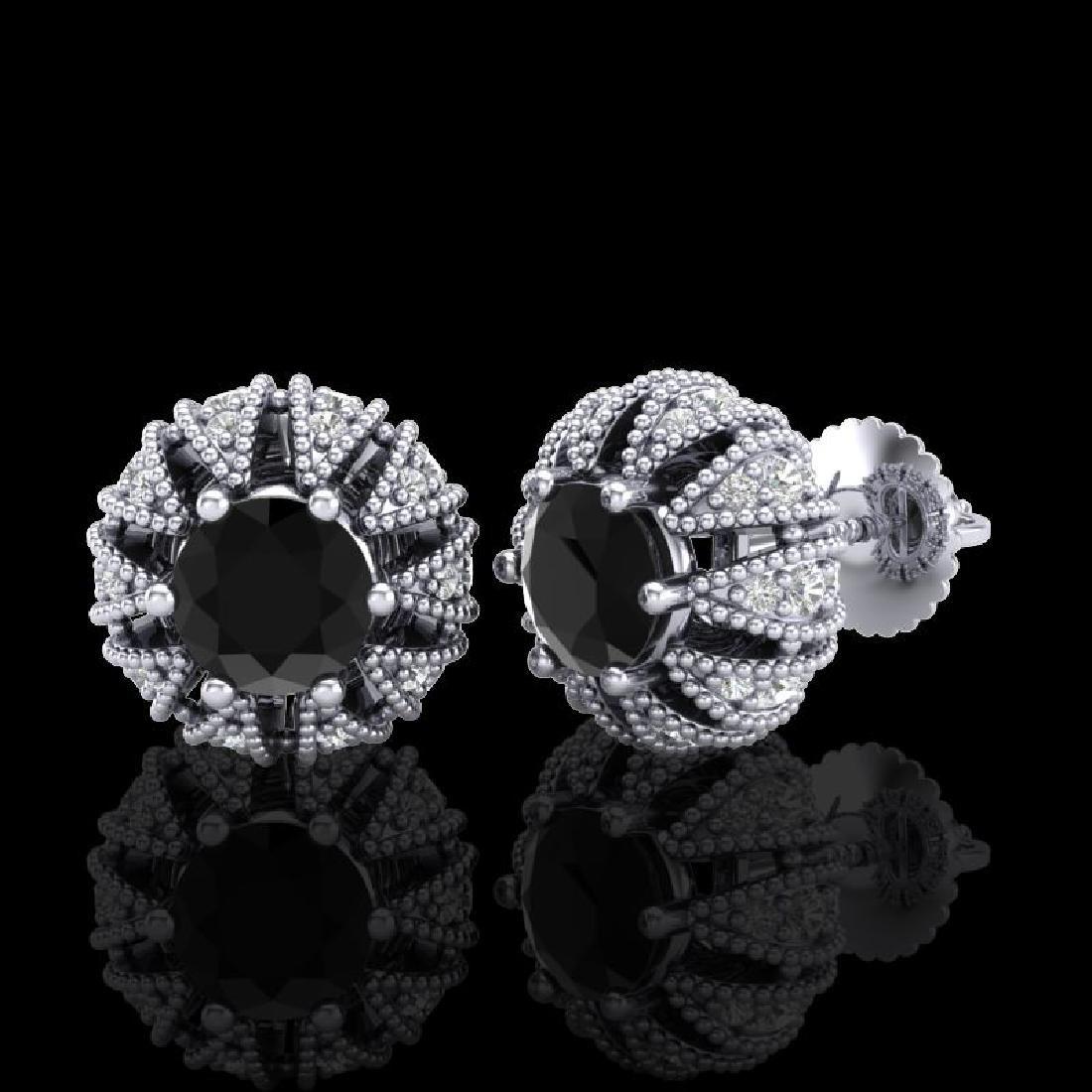 2.01 CTW Fancy Black Diamond Art Deco Micro Pave Stud