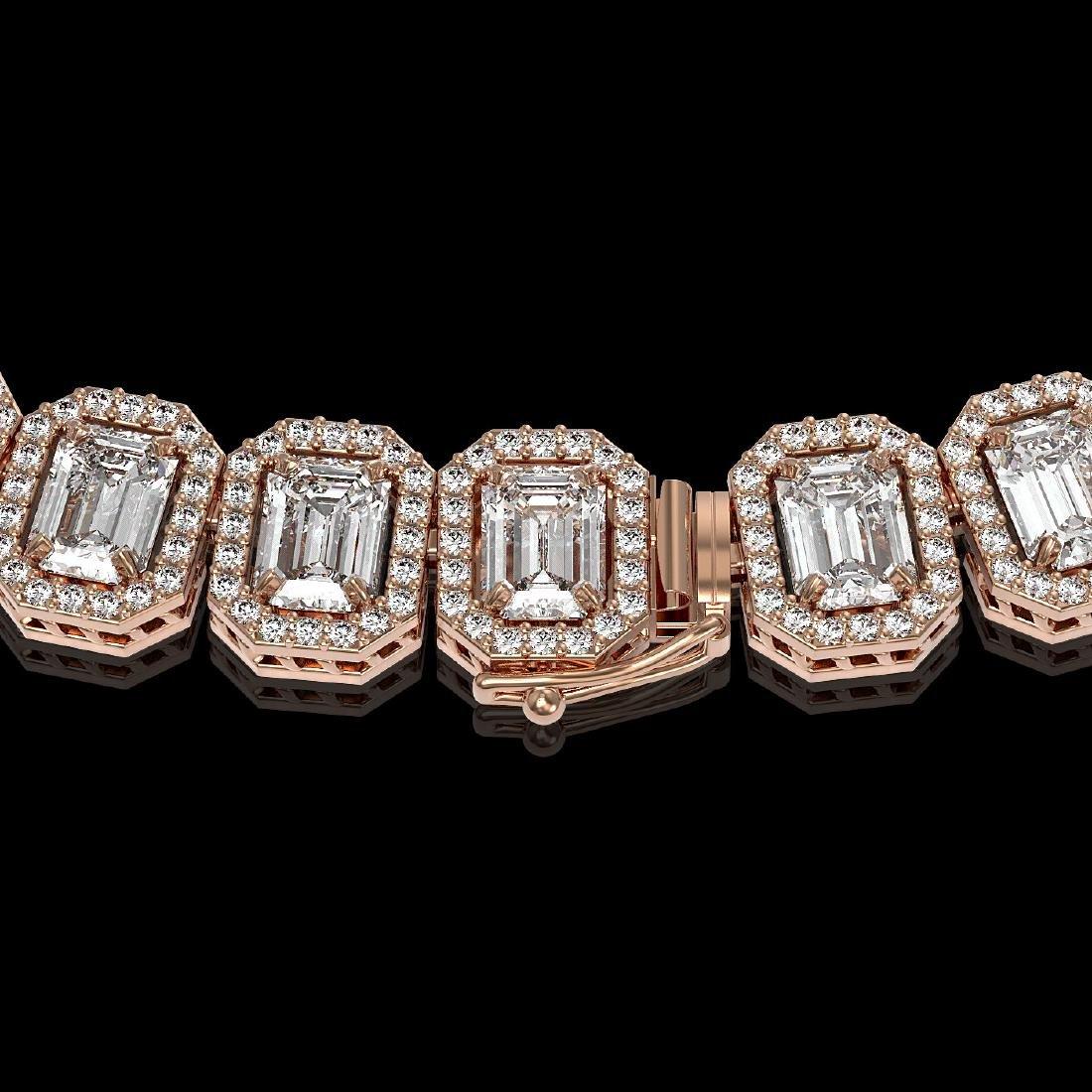 40.3 CTW Emerald Cut Diamond Designer Necklace 18K Rose - 3