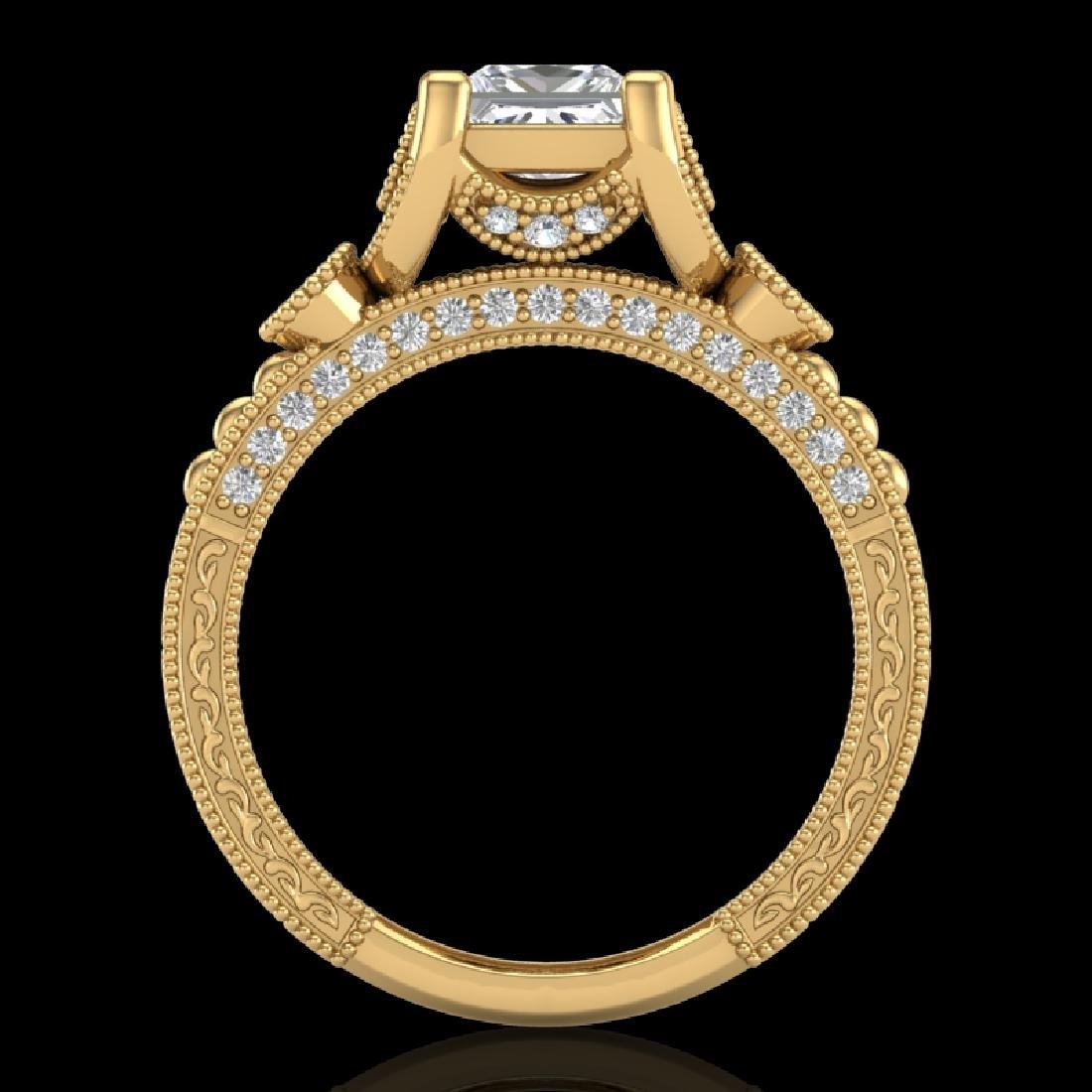 1.75 CTW Princess VS/SI Diamond Art Deco Ring 18K
