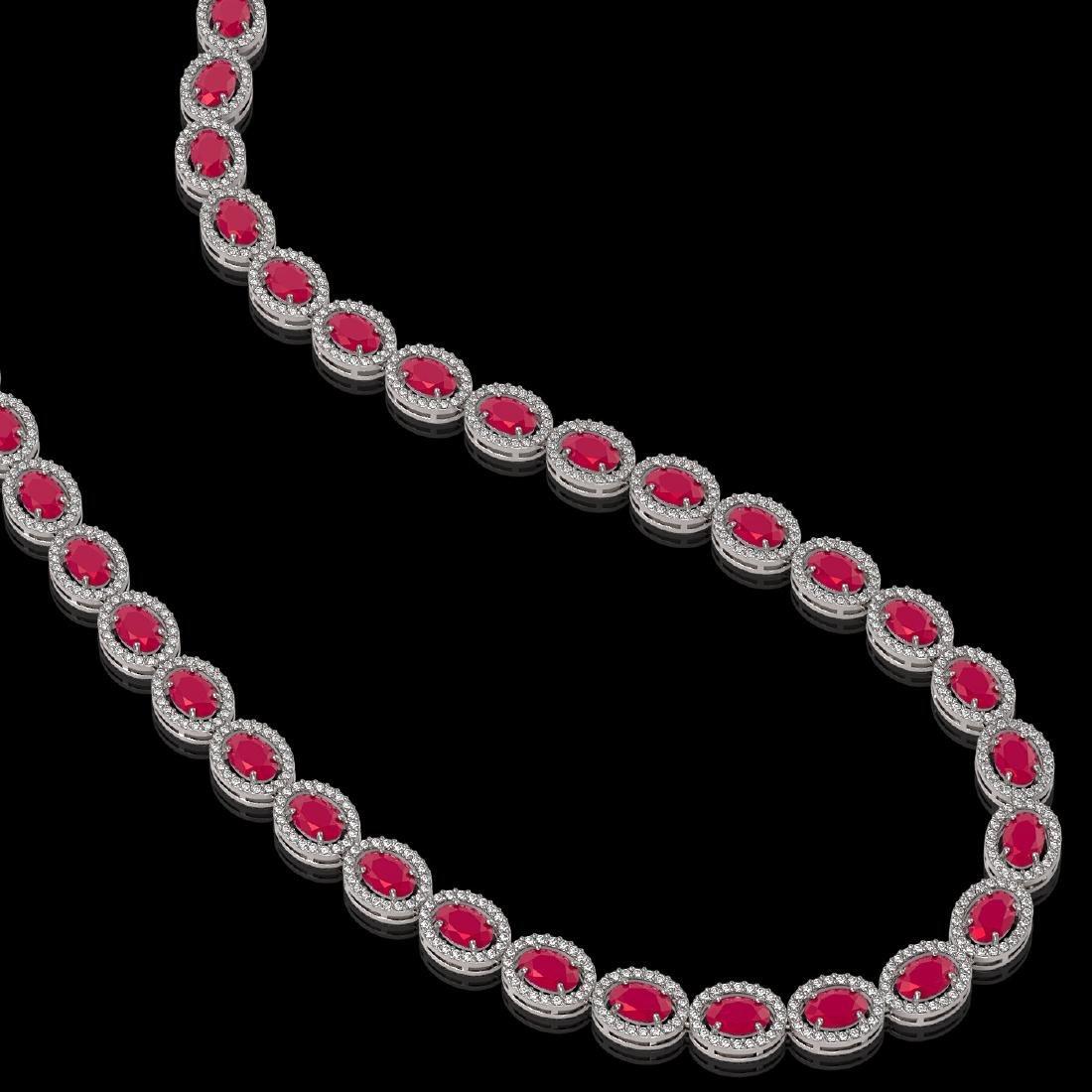 34.11 CTW Ruby & Diamond Halo Necklace 10K White Gold - 2