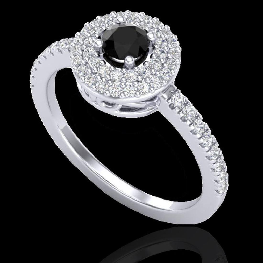 0.80 CTW Micro VS/SI Diamond Designer Ring 18K White