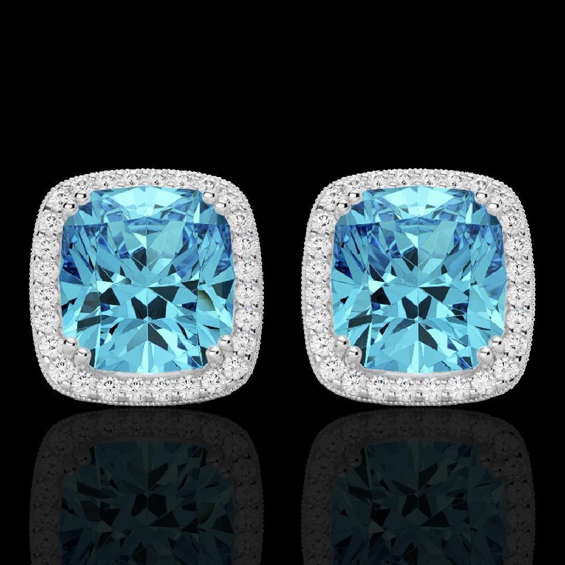 6.50 CTW Sky Blue Topaz & Micro VS/SI Diamond Halo