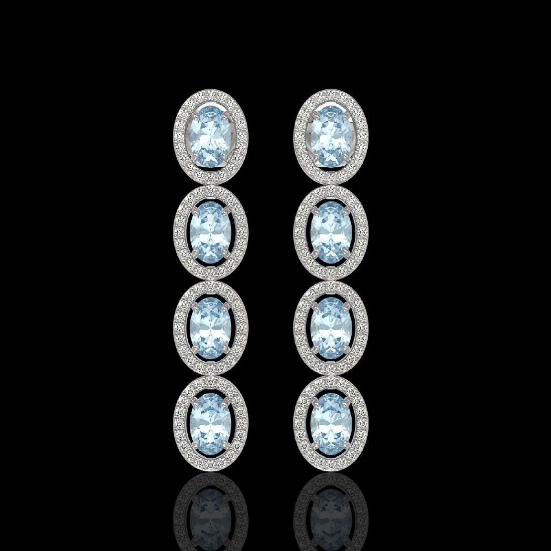 4.68 CTW Aquamarine & Diamond Halo Earrings 10K White