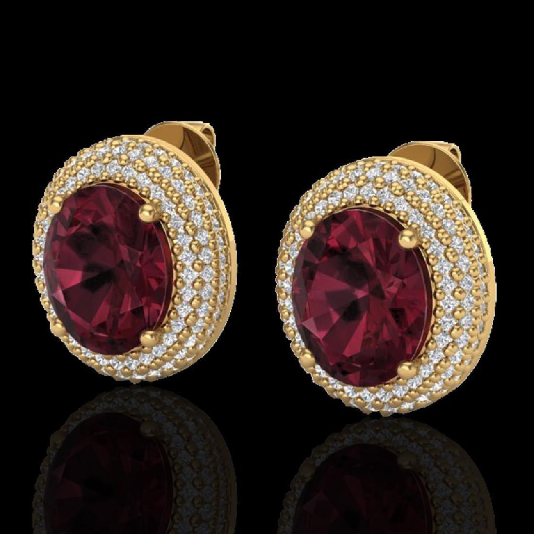 9 CTW Garnet & Micro Pave VS/SI Diamond Earrings 18K