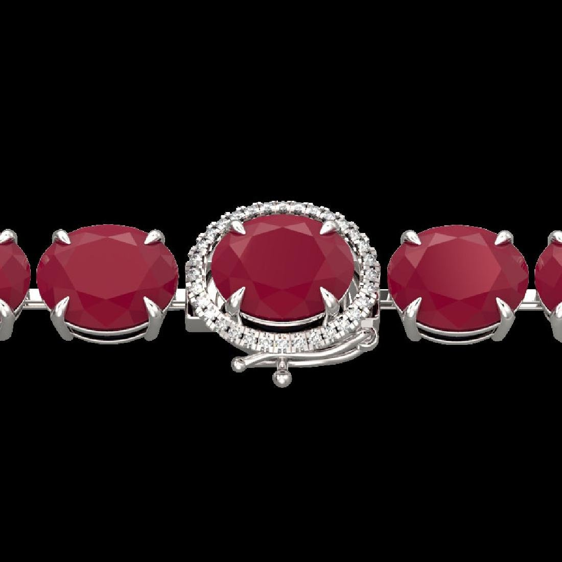 75 CTW Ruby & Micro Pave VS/SI Diamond Halo Bracelet