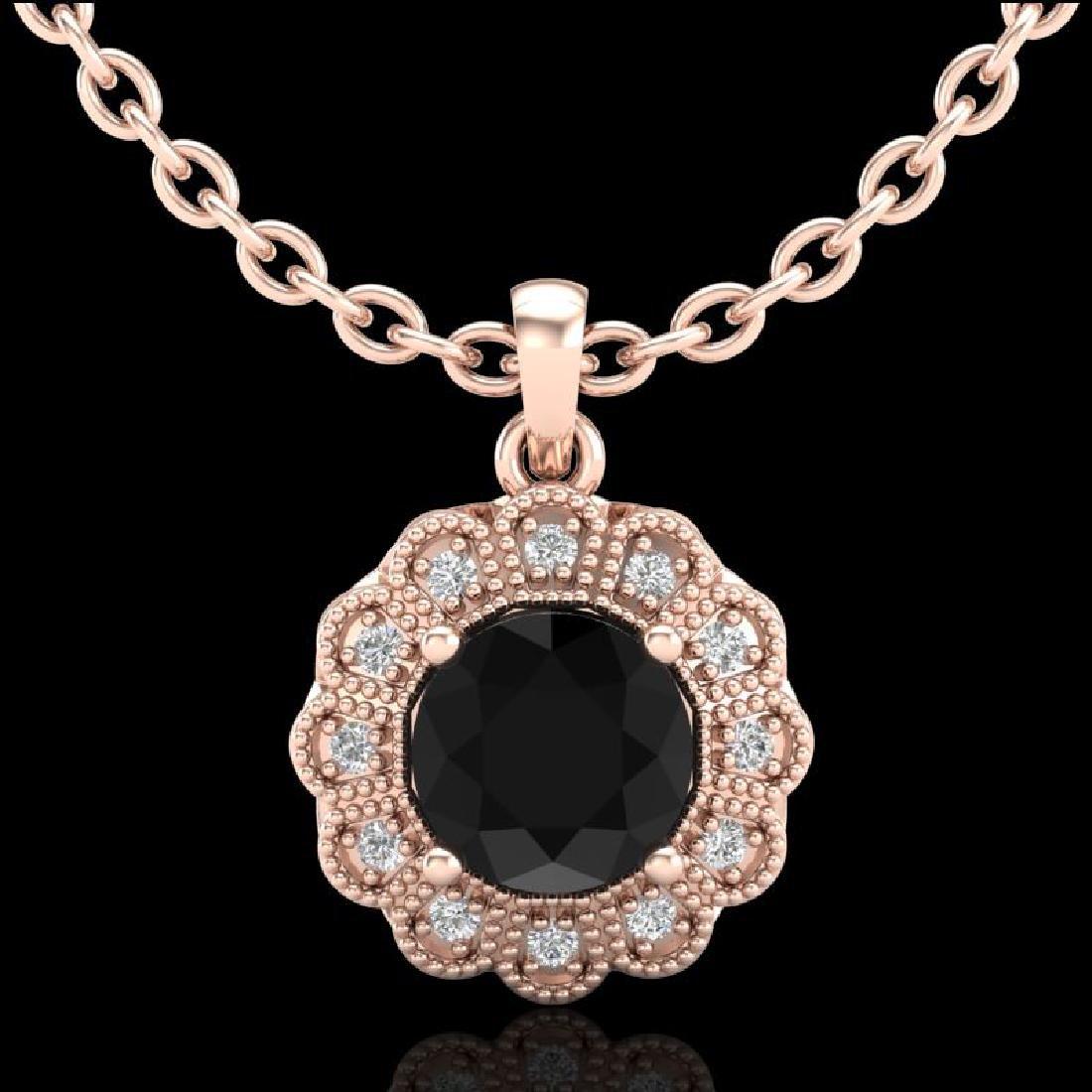1.15 CTW Fancy Black Diamond Solitaire Art Deco Stud