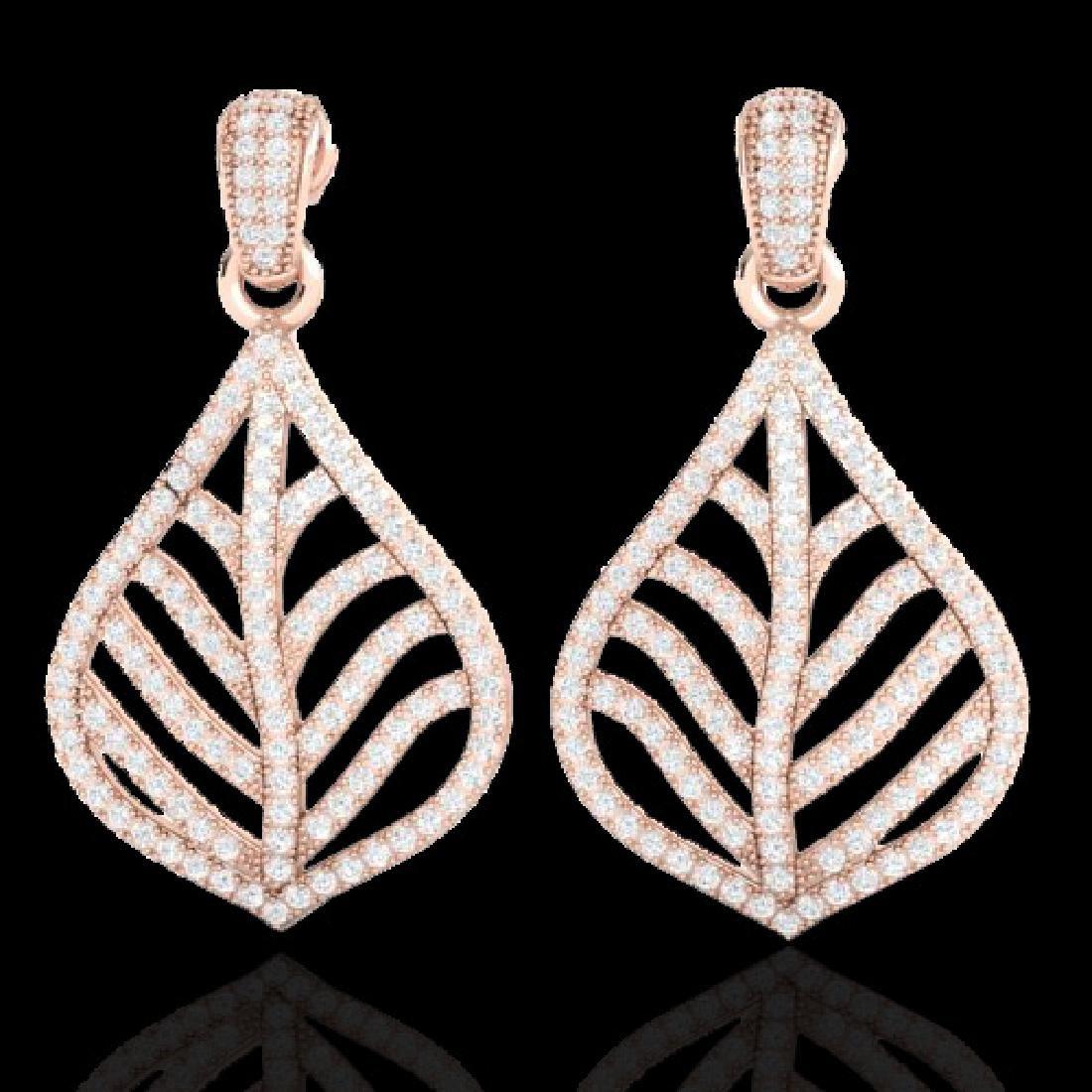2.50 CTW Micro Pave VS/SI Diamond Earrings Designer 14K