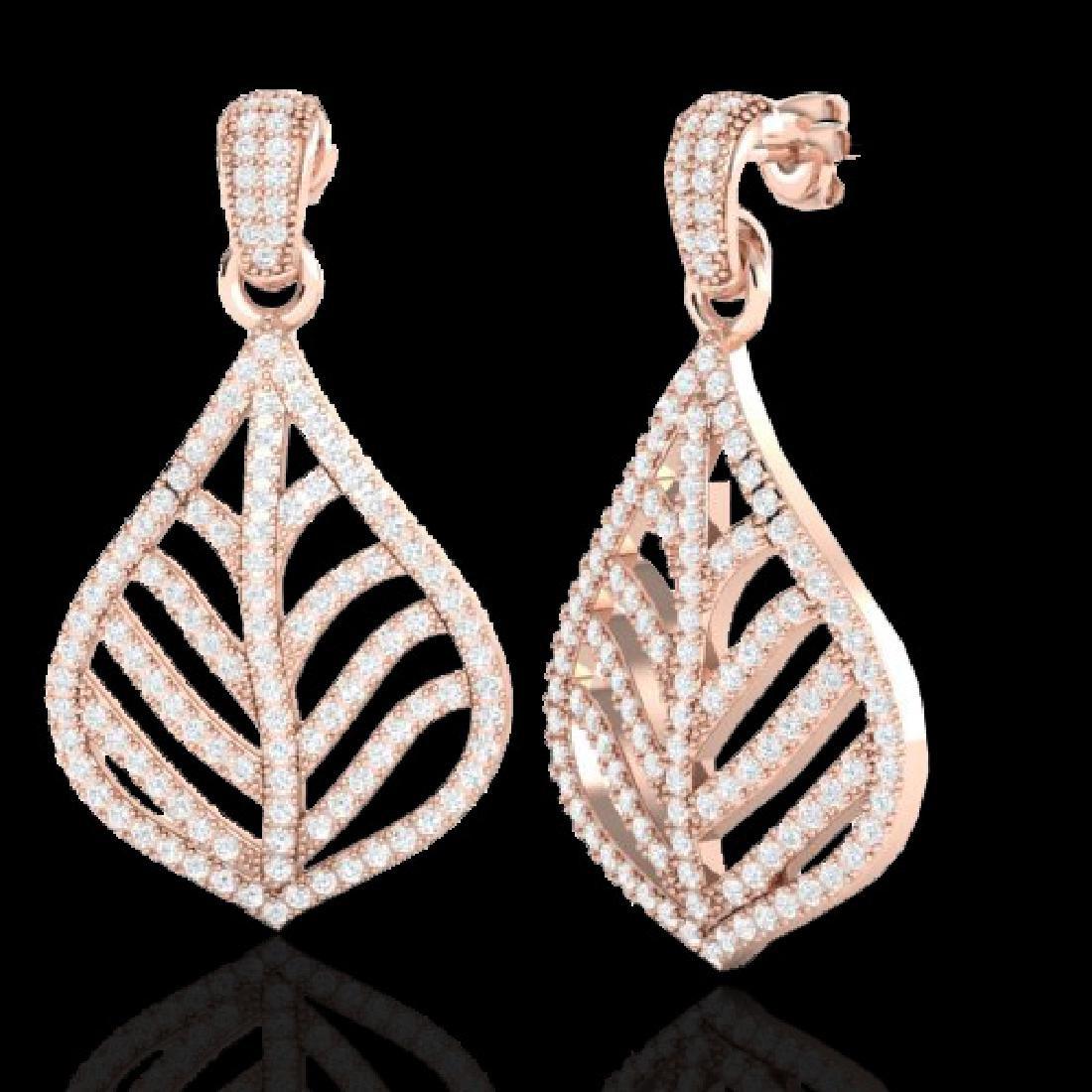2.50 CTW Micro Pave VS/SI Diamond Earrings Designer 14K - 2