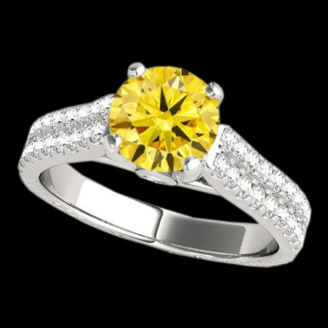 1.61 CTW Certified SI/I Fancy Intense Yellow Diamond