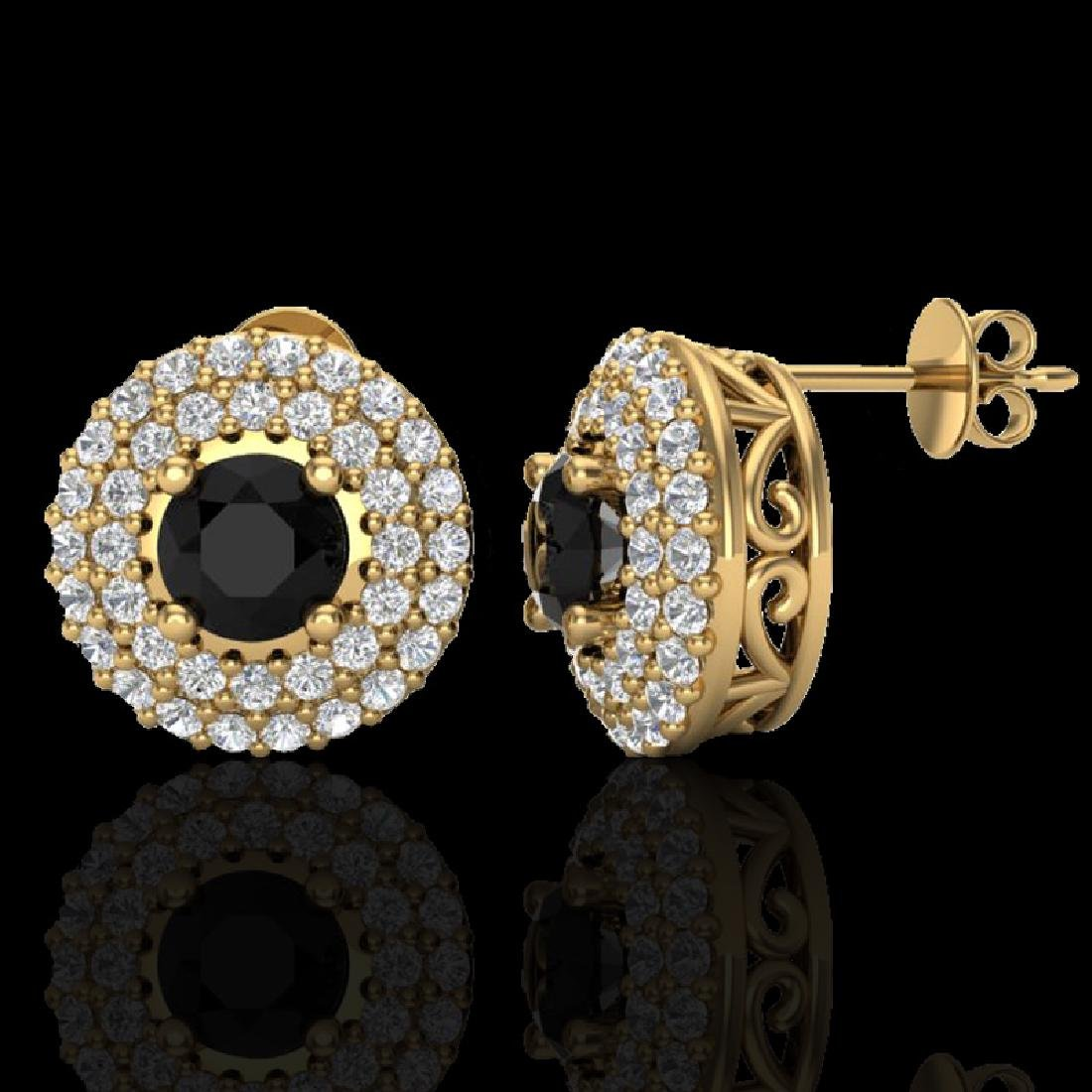 1.40 CTW Micro VS/SI Diamond Designer Earrings 18K - 2