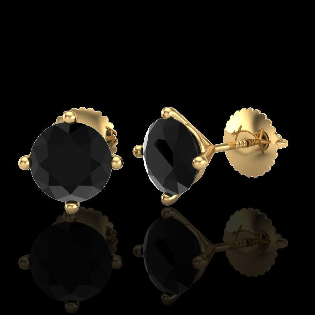 2 CTW Fancy Black Diamond Solitaire Art Deco Stud - 2
