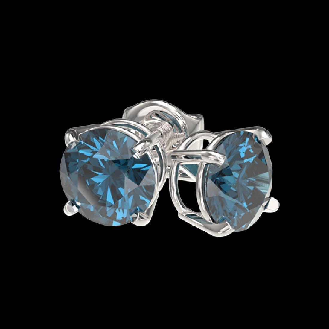1 CTW Certified Intense Blue SI Diamond Solitaire Stud - 3