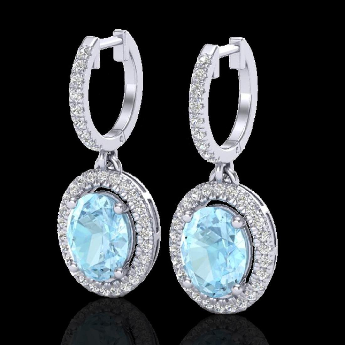 3.25 CTW Aquamarine & Micro Pave VS/SI Diamond Earrings