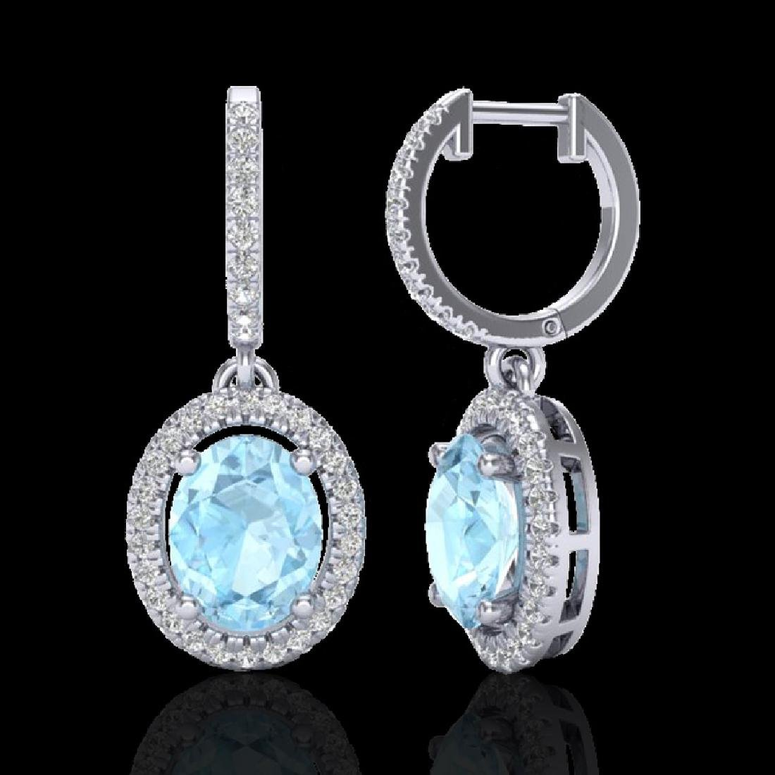 3.25 CTW Aquamarine & Micro Pave VS/SI Diamond Earrings - 2