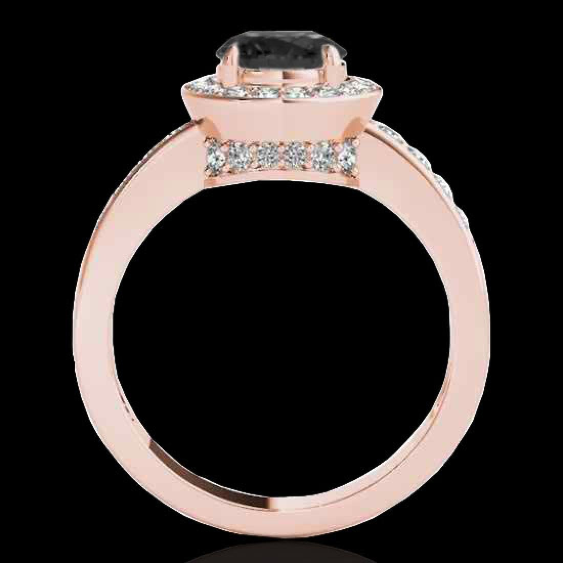 2 CTW Certified VS Black Diamond Solitaire Halo Ring - 2