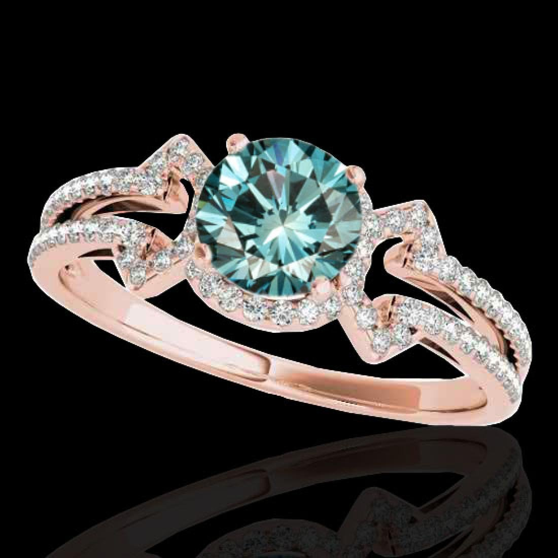 1.36 CTW SI Certified Fancy Blue Diamond Solitaire Ring