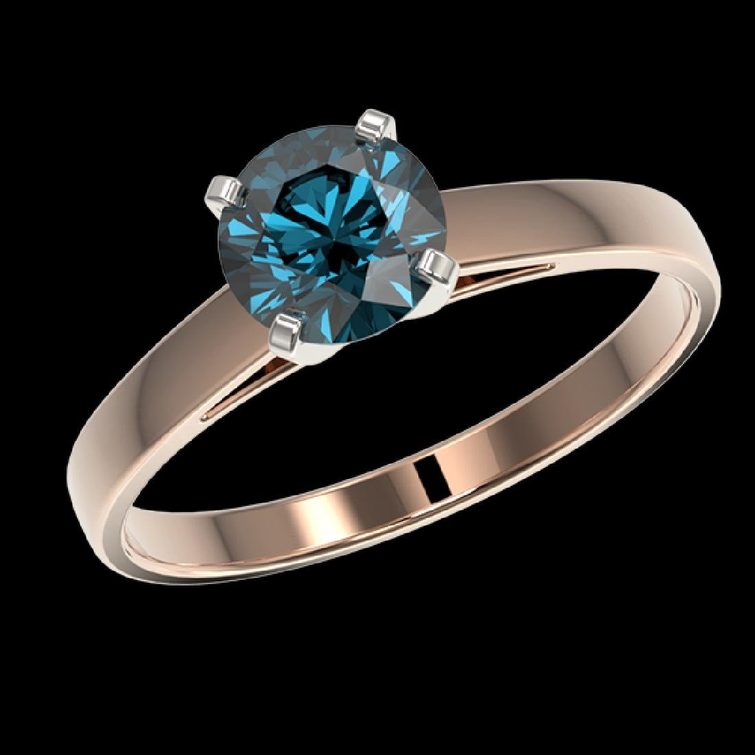 1.06 CTW Certified Intense Blue SI Diamond Solitaire - 2