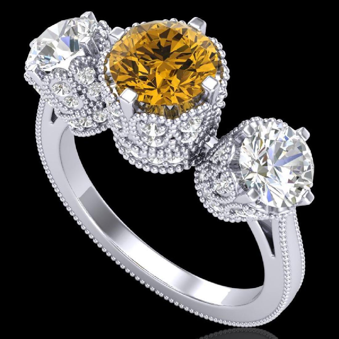 3.06 CTW Intense Fancy Yellow Diamond Art Deco 3 Stone