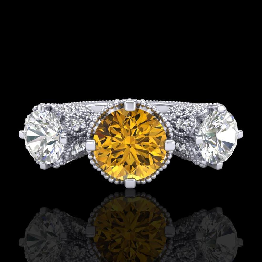 3.06 CTW Intense Fancy Yellow Diamond Art Deco 3 Stone - 2