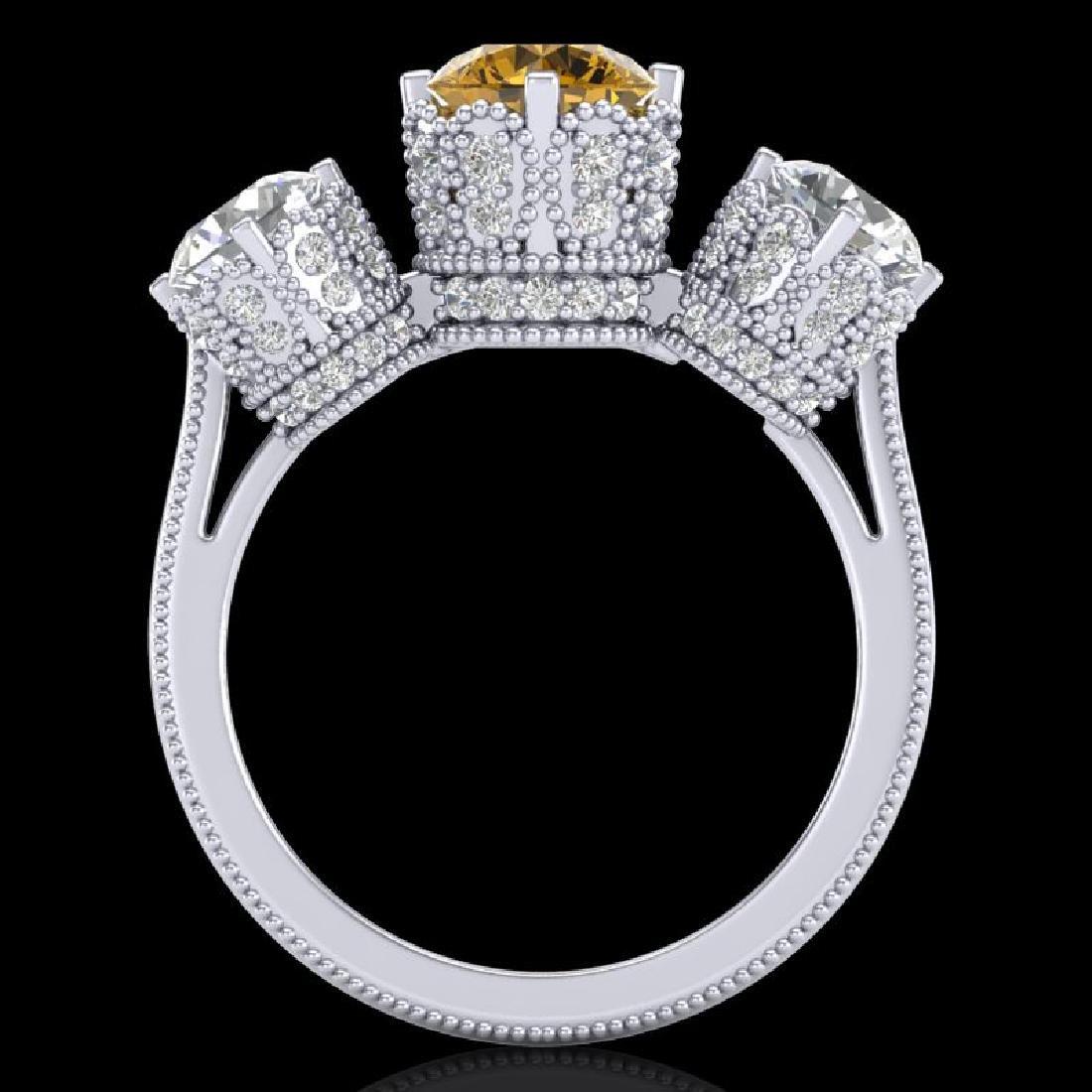3.06 CTW Intense Fancy Yellow Diamond Art Deco 3 Stone - 3