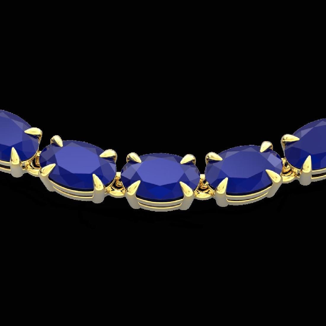40 CTW Sapphire Eternity Tennis Necklace 14K Yellow