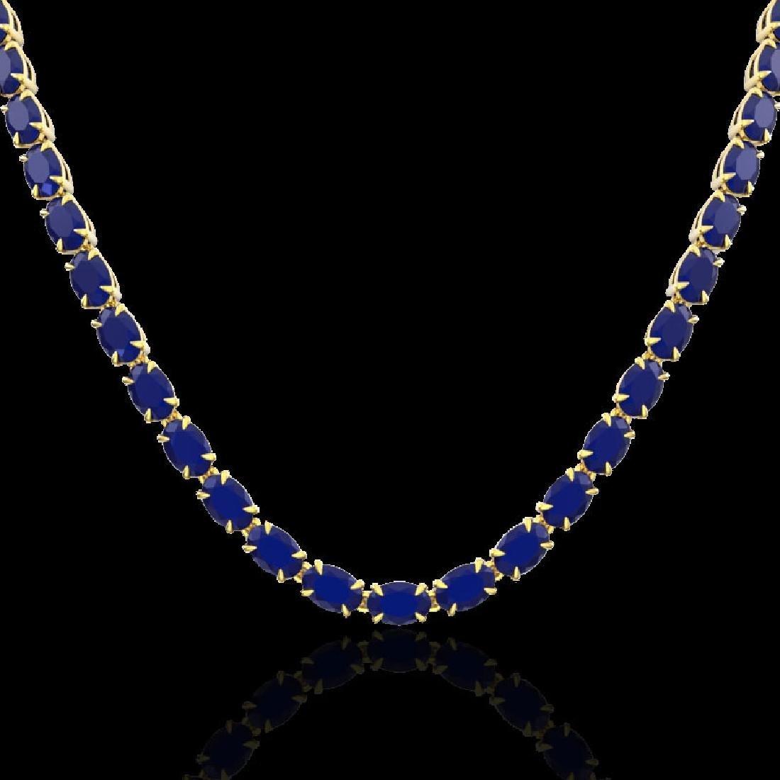 40 CTW Sapphire Eternity Tennis Necklace 14K Yellow - 2
