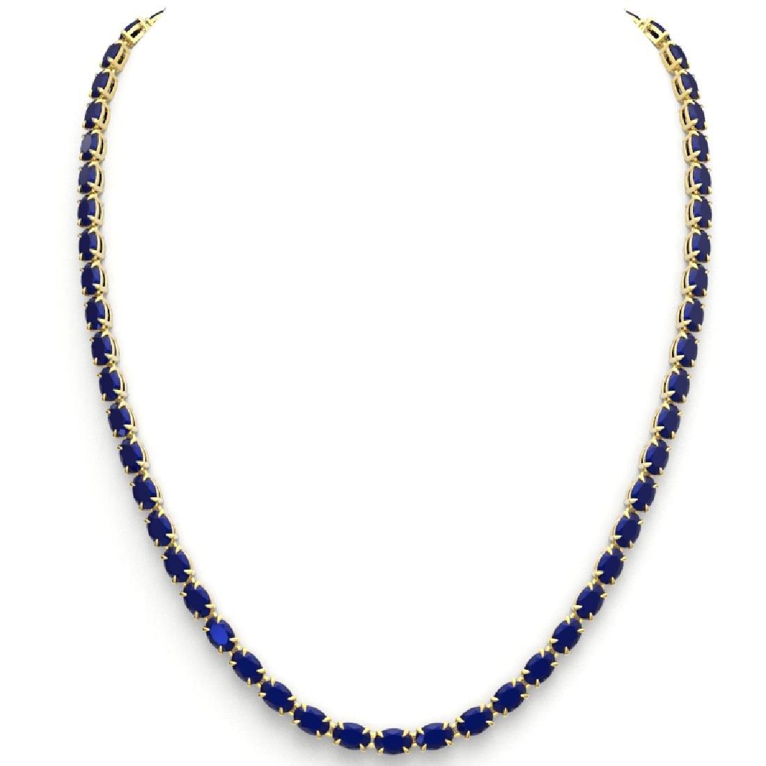 40 CTW Sapphire Eternity Tennis Necklace 14K Yellow - 3
