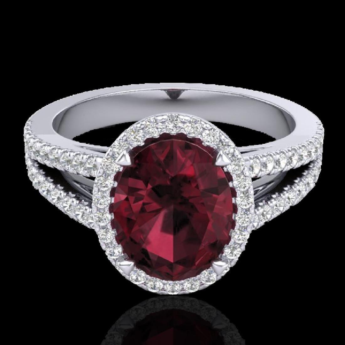 3 CTW Garnet & Micro VS/SI Diamond Halo Solitaire Ring