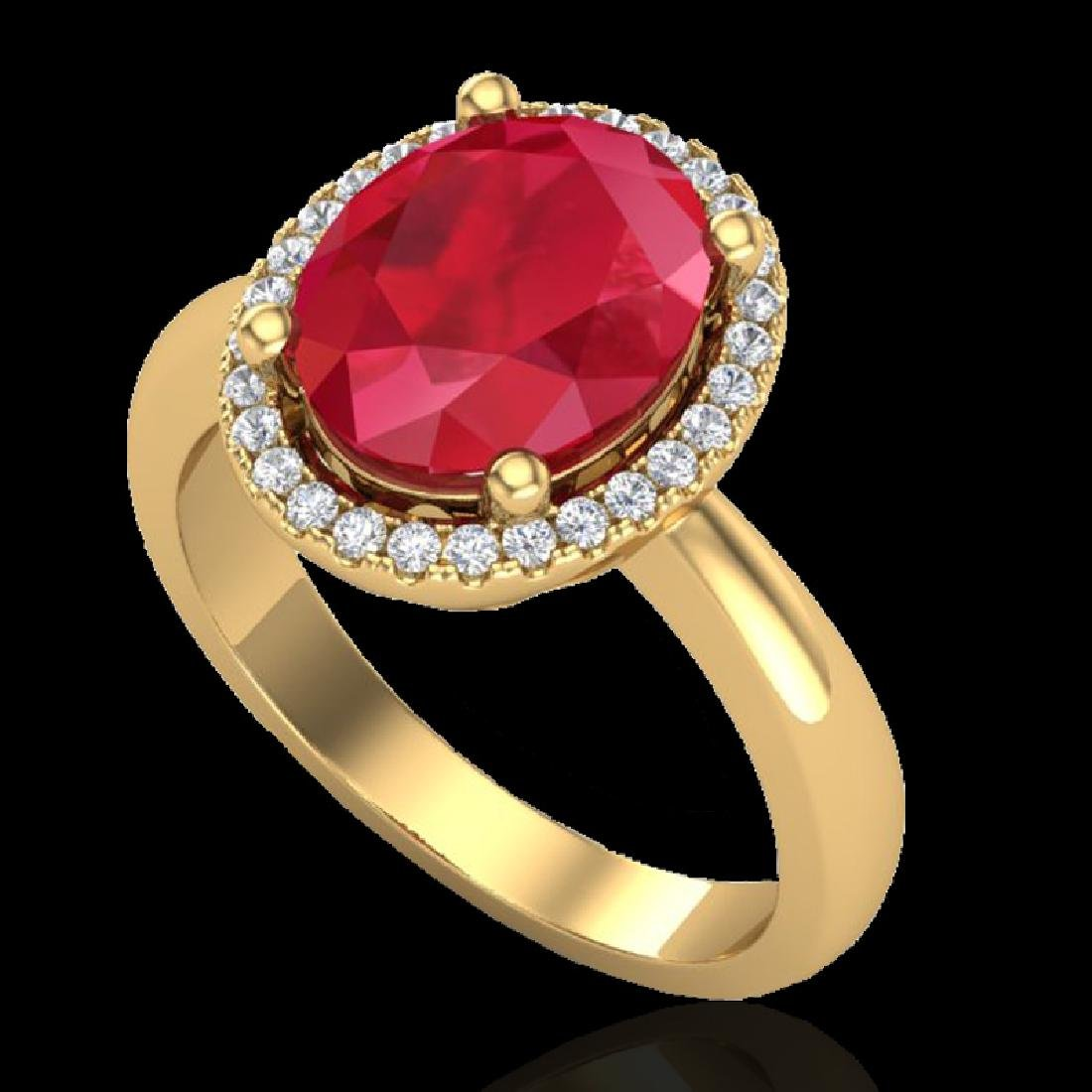 3 CTW Ruby And Micro Pave VS/SI Diamond Ring Halo 18K - 2