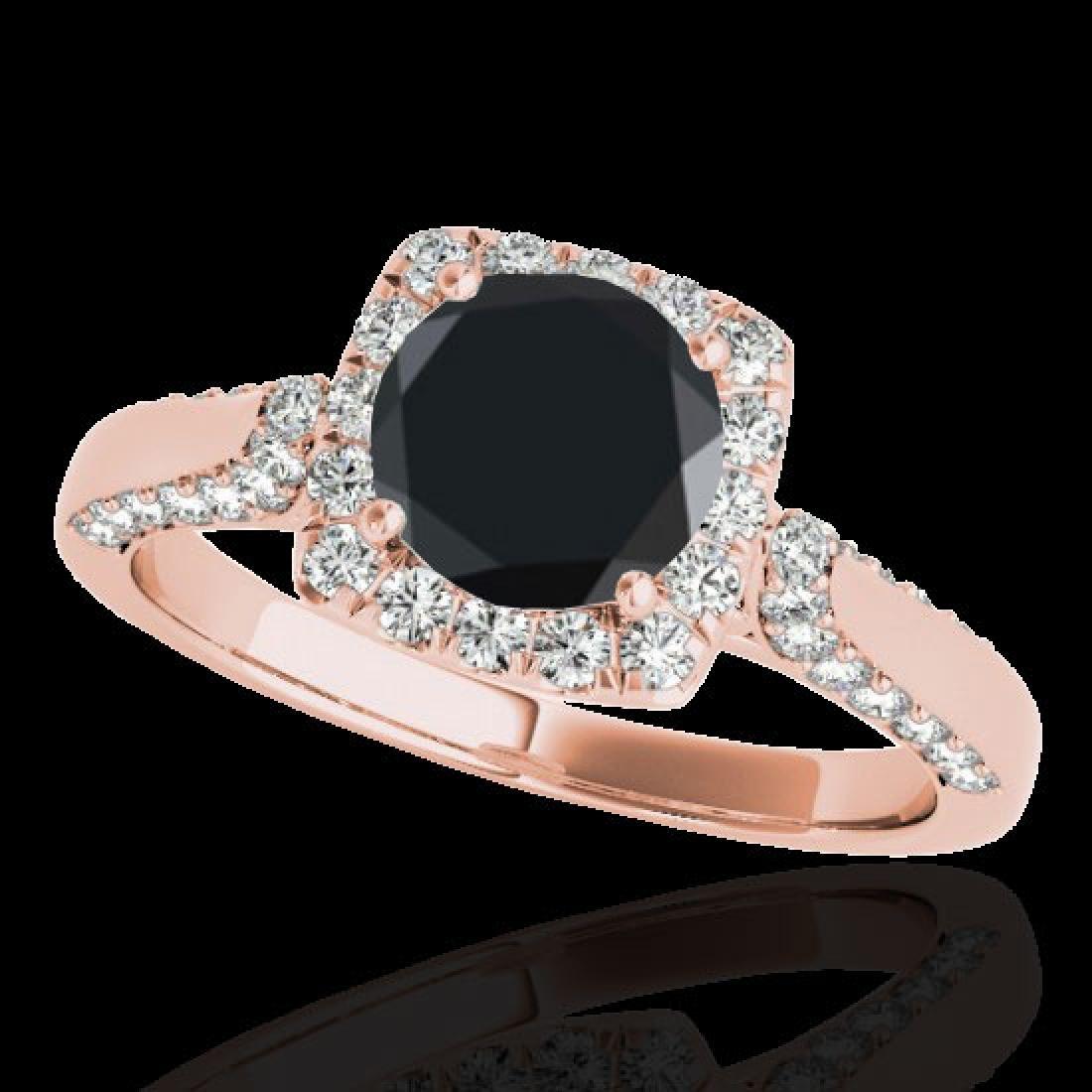 1.7 CTW Certified VS Black Diamond Solitaire Halo Ring