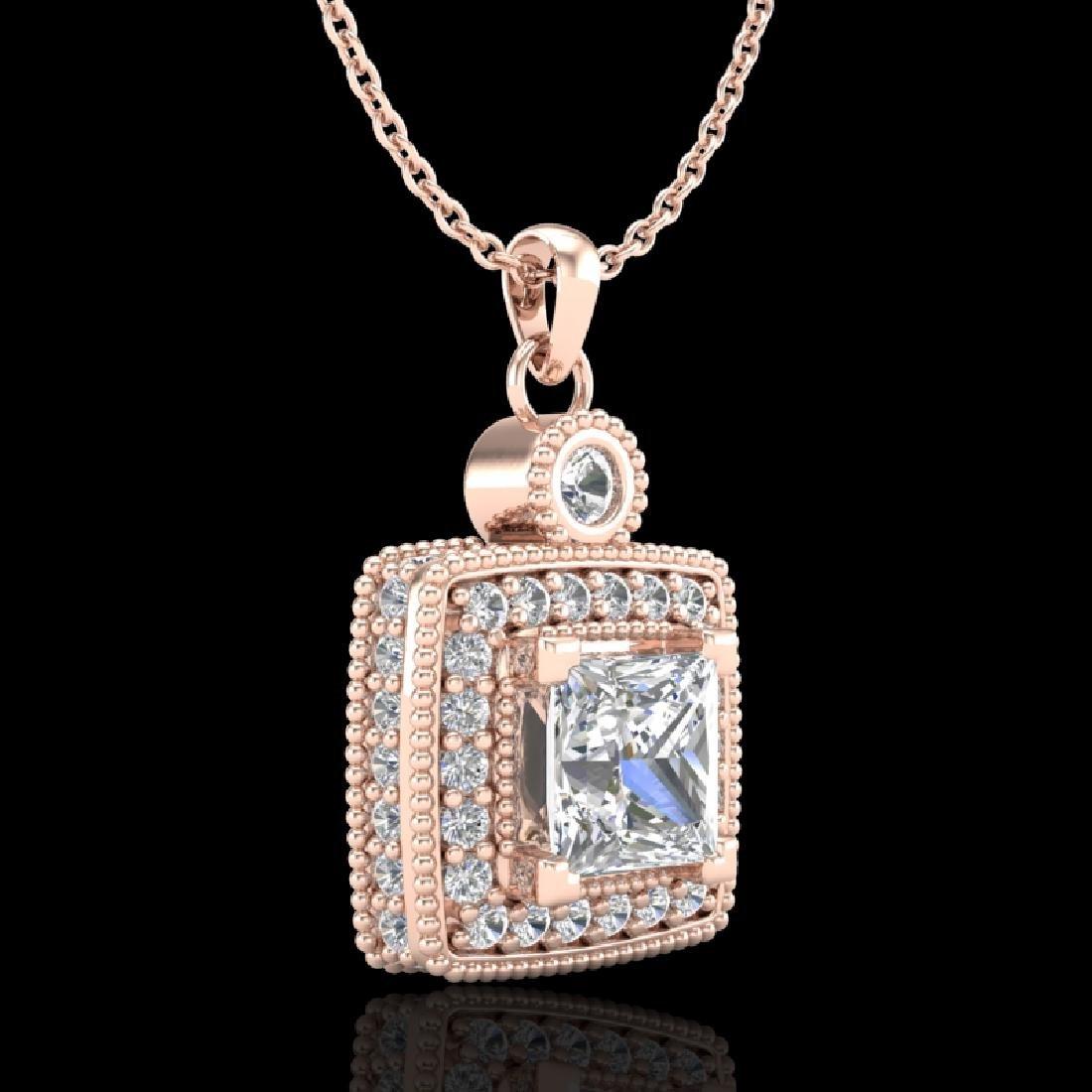 0.91 CTW Princess VS/SI Diamond Art Deco Stud Necklace - 2