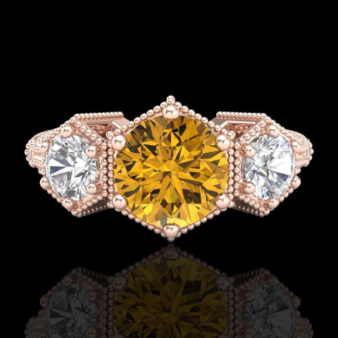 1.66 CTW Intense Fancy Yellow Diamond Art Deco 3 Stone - 2