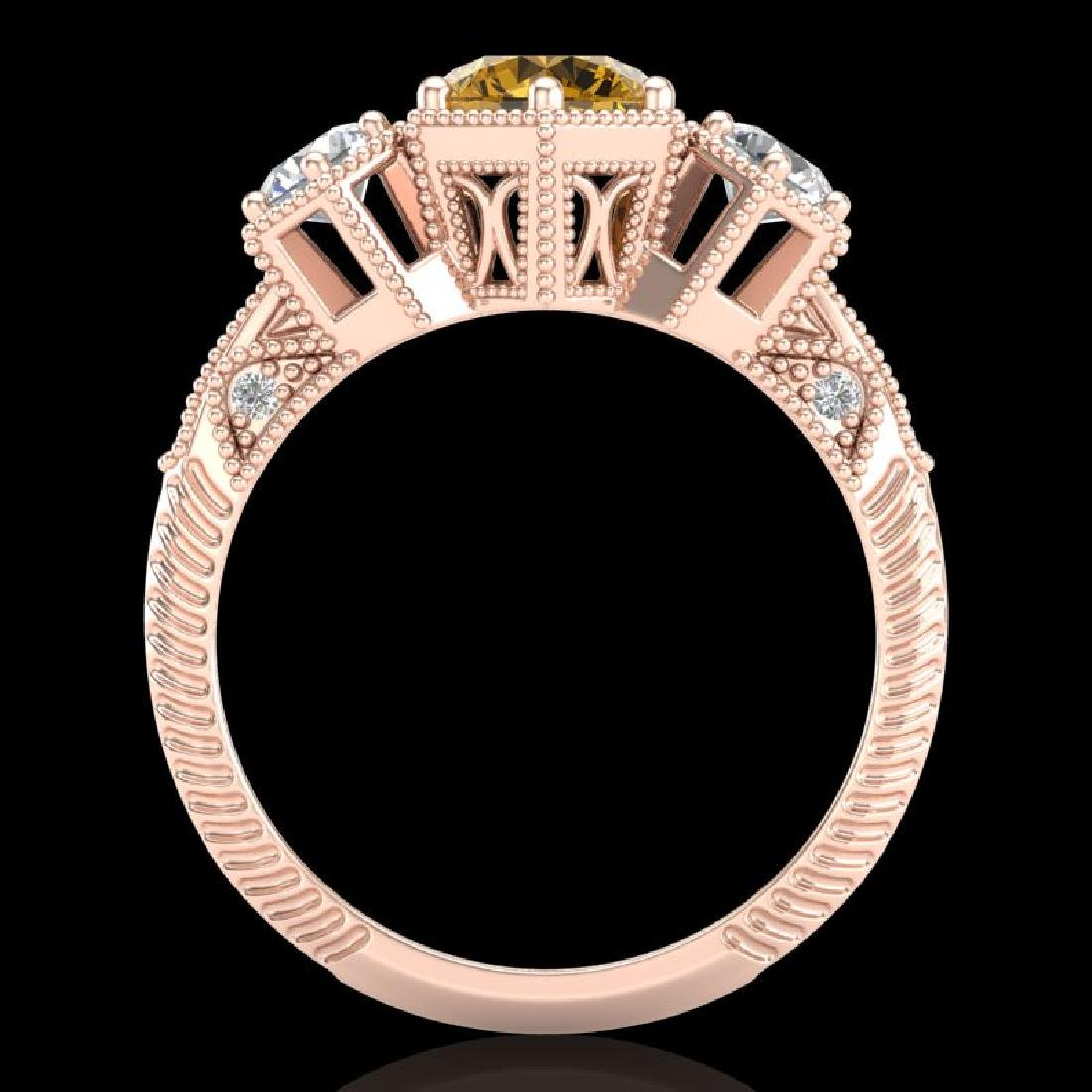 1.66 CTW Intense Fancy Yellow Diamond Art Deco 3 Stone - 3